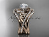 14kt rose gold diamond celtic trinity knot wedding ring, engagement ring with double matching band CT7320S