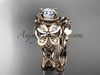 14kt rose gold diamond celtic trinity knot  wedding ring, butterfly engagement set CT7136S