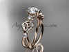 """14kt rose gold celtic trinity knot engagement ring, wedding ring with a """"Forever One"""" Moissanite center stone CT768"""