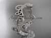 14kt white gold celtic trinity knot matte finish wedding band, engagement ring CT7138G
