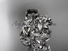 14k white gold diamond floral wedding set, engagement set with a Black Diamond center stone ADLR216S