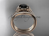14kt rose gold celtic trinity knot engagement ring ,diamond wedding ring, engagement set with a Black Diamond center stone CT7108S