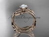 "14k rose gold leaf and vine wedding ring, engagement set with a ""Forever One"" Moissanite center stone ADLR343S"