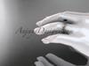14k rose gold diamond vine and leaf wedding ring with a Black Diamond center stone ADLR178