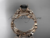 14k rose gold diamond leaf and vine wedding ring, engagement ring, engagement set with a Black Diamond center stone ADLR151S