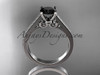 14kt white gold diamond unique engagement ring, wedding ring with a Black Diamond center stone ADER134