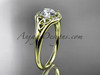 """14kt yellow gold celtic trinity knot engagement ring, wedding ring with a """"Forever One"""" Moissanite center stone CT791"""