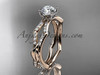 """14k rose gold diamond leaf and vine wedding ring,engagement ring with a """"Forever One"""" Moissanite center stone ADLR353"""
