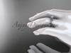 14kt white gold diamond celtic trinity knot wedding ring, engagement ring on hand