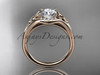 """14kt rose gold celtic trinity knot engagement ring, wedding ring with a """"Forever One"""" Moissanite center stone CT791"""