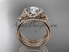 "14kt rose gold diamond celtic trinity knot wedding ring, engagement ring with a ""Forever One"" Moissanite center stone and double matching band CT7155S"