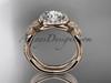14kt rose gold  diamond floral wedding ring, engagement set ADLR127S