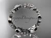 platinum flower wedding ring, engagement ring, wedding band ADLR191G