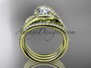 """14k yellow gold diamond leaf  wedding ring with a """"Forever One"""" Moissanite center stone and double matching band ADLR317S"""