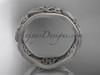 14kt white gold celtic trinity knot wedding band, matte finish wedding band, engagement ring CT7504G