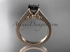 14kt rose gold diamond unique engagement ring, wedding ring with a Black Diamond center stone ADER134