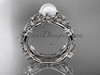 Platinum diamond pearl vine and leaf engagement ring AP59S