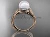 14k rose gold diamond pearl vine and leaf engagement ring AP64