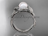 14k white gold diamond pearl vine and leaf engagement ring AP65