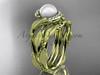 Floral bridal ring sets Yellow gold Pearl diamond ring AP65S