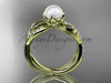 14k yellow gold diamond pearl vine and leaf engagement ring AP70