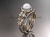 14kt rose gold diamond floral wedding ring, engagement set AP131S