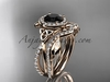 14kt rose gold celtic trinity knot engagement set, wedding ring with a Black Diamond center stone CT789S