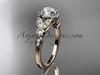 14k rose gold unique engagement ring, wedding ring ADLR387