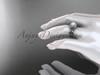 14kt white gold diamond Fleur de Lis pearl engagement ring VP10023