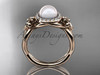 14kt rose gold diamond Fleur de Lis pearl engagement ring VP10023