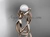14kt rose gold Fleur de Lis pearl engagement ring VP10024