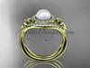 14kt yellow gold diamond Fleur de Lis pearl engagement ring VP10025