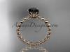 14k rose gold diamond vine and leaf wedding ring, engagement ring with  Black Diamond center stone ADLR34
