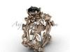 14kt rose gold diamond leaf and vine, Fleur de Lis, enhanced Black Diamond engagement set VD20859S
