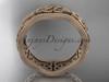 14kt rose gold celtic trinity knot matte finish engagement ring, wedding band CT750B