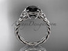 14kt white gold celtic rope engagement ring with a  Black Diamond center stone RPCT9108