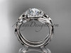 """14kt white gold diamond leaf and vine engagement set with a """"Forever One"""" Moissanite center stone ADLR328S"""