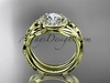 """14kt yellow gold diamond leaf and vine engagement set with a """"Forever One"""" Moissanite center stone ADLR328S"""