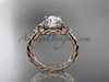 """14kt rose gold rope triquetra celtic engagement ring with a """"Forever One"""" Moissanite center stone RPCT9112"""