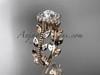14k rose gold diamond leaf and vine wedding ring, engagement ring ADLR118