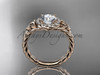 "14kt rose gold halo rope celtic triquetra engagement ring with a ""Forever One"" Moissanite center stone RPCT9131"