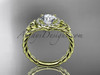 """14kt yellow gold halo rope celtic triquetra engagement ring with a """"Forever One"""" Moissanite center stone RPCT9131"""