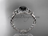 Platinum rope halo celtic triquetra engagement ring with a Black Diamond center stone RPCT9127