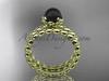 14kt yellow gold diamond vine round tahitian black cultured pearl engagement set ABP34S