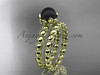 14kt Yellow Gold Floral Round Black Pearl Wedding Set ABP34S