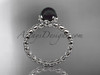 14kt white gold diamond vine round tahitian black cultured pearl engagement ring ABP34