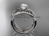 """14kt white gold flower double wedding band with a """"Forever One"""" Moissanite center stone engagement ring  ADLR70S"""