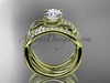 """14kt yellow gold flower double wedding band with a """"Forever One"""" Moissanite center stone engagement ring  ADLR70S"""