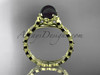 14kt yellow gold diamond leaf and floral round tahitian black cultured pearl engagement ring ABP35