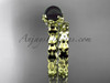 14kt yellow gold diamond leaf and floral round tahitian black cultured pearl wedding set ABP35S